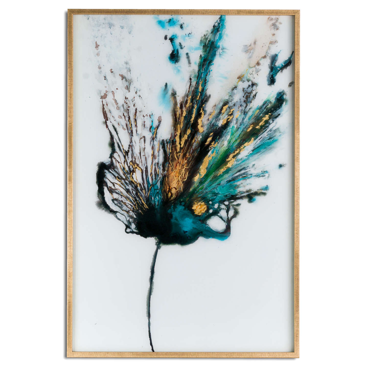 Large Floral Colour Explosion Glass Image In Gold Frame By Hill Interiors