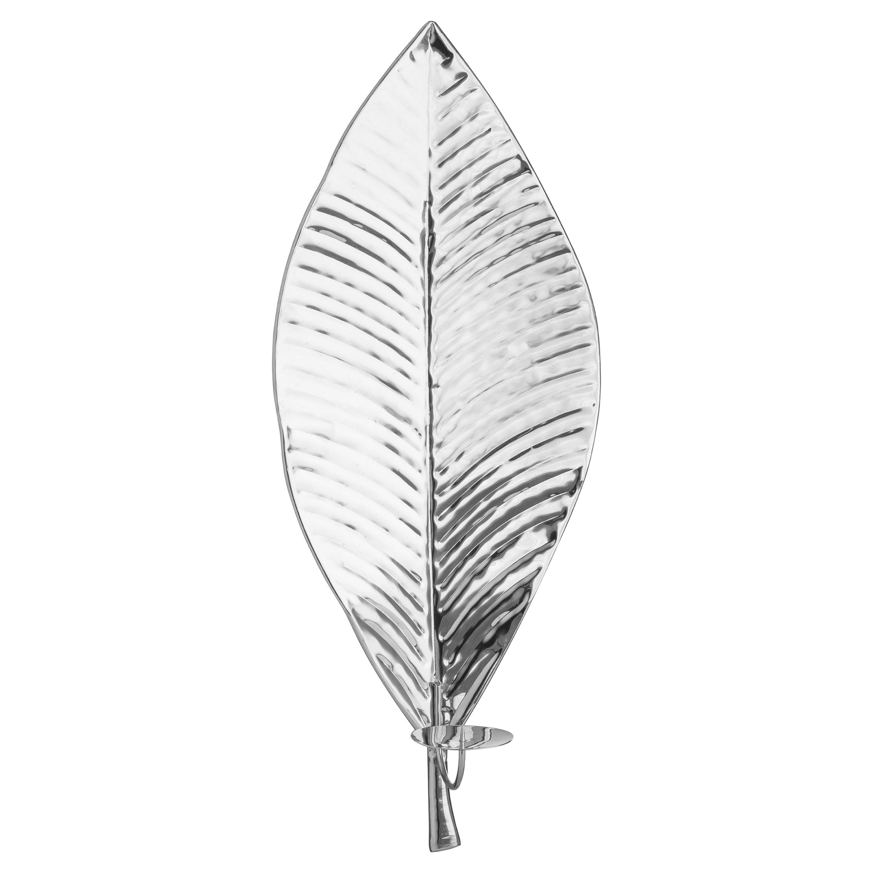 Large Silver Leaf Wall Hanging Candle Holder by Hill Interiors