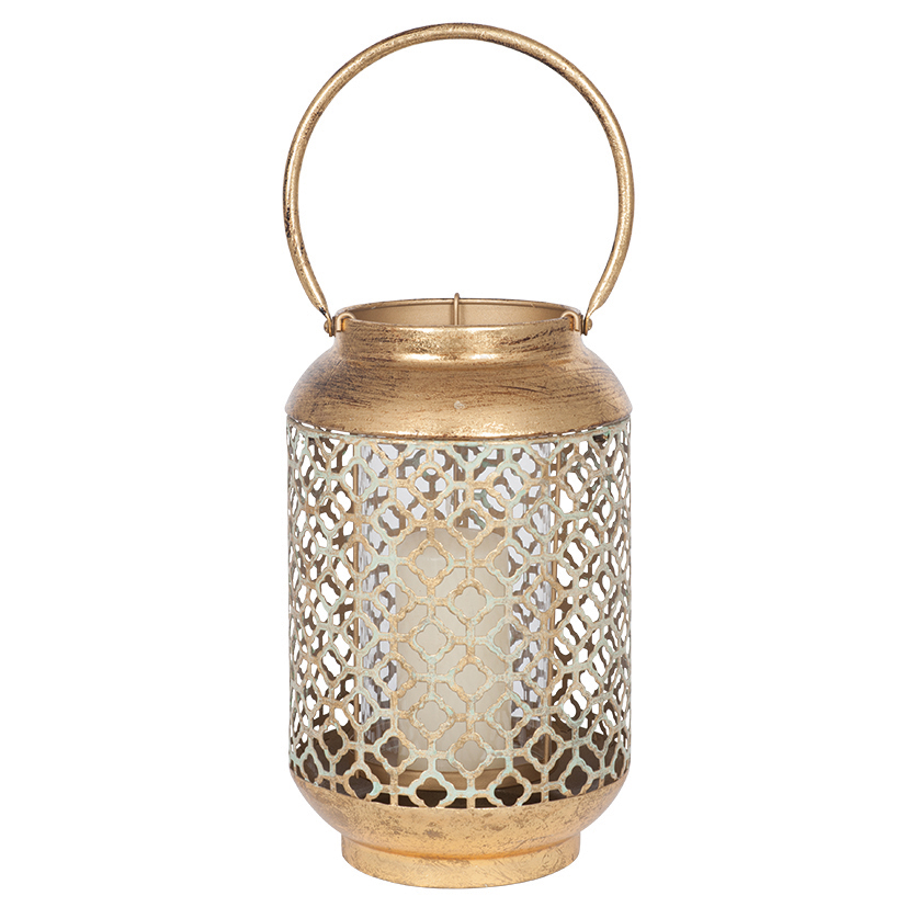 Antique Gold Metal and Glass Round Lanterns