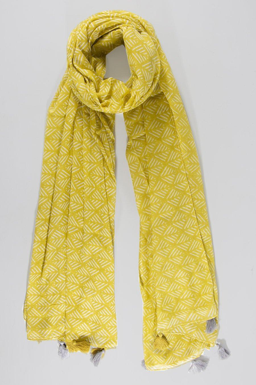MSH Grey Mustard Contrast Tassel Geometric Pattern Scarf