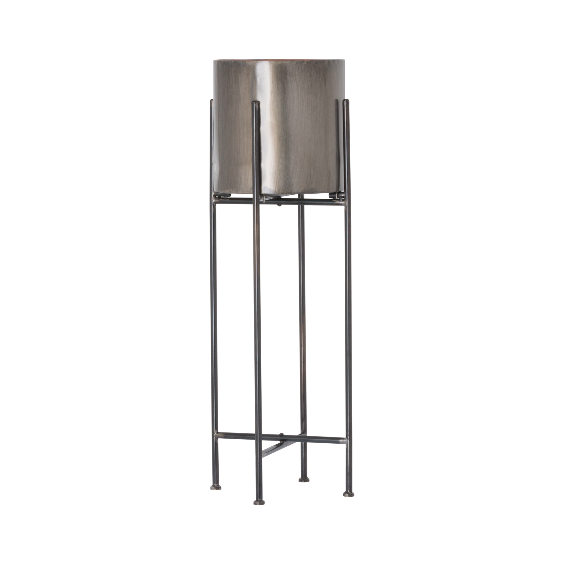 Gun Metal Grey Cylindrical Planter (set of 2)