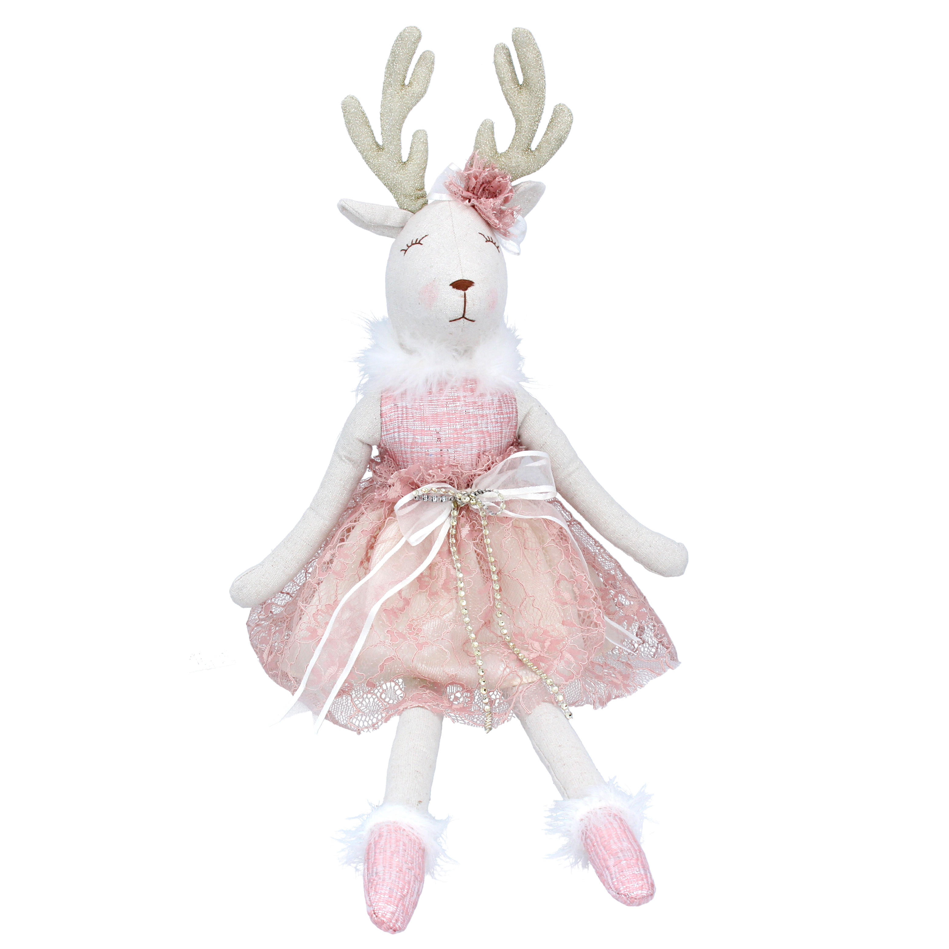 White Reindeer in Pink Dress
