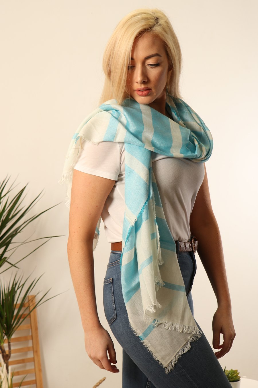 MSH Turquoise Blue and White Stripped Scarf