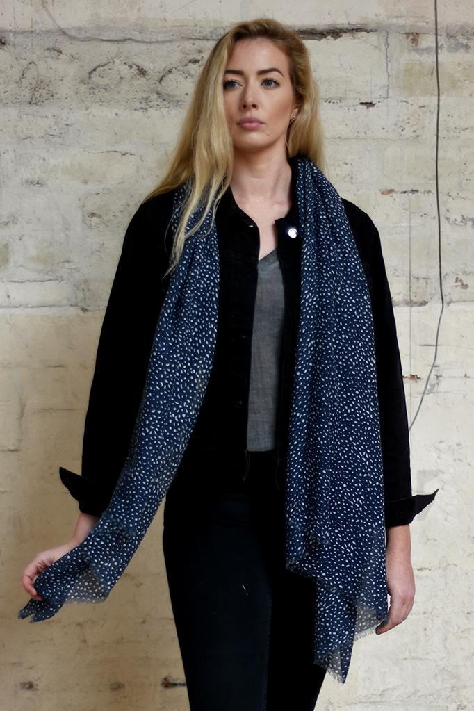 MSH Navy and White Animal Print Scarf