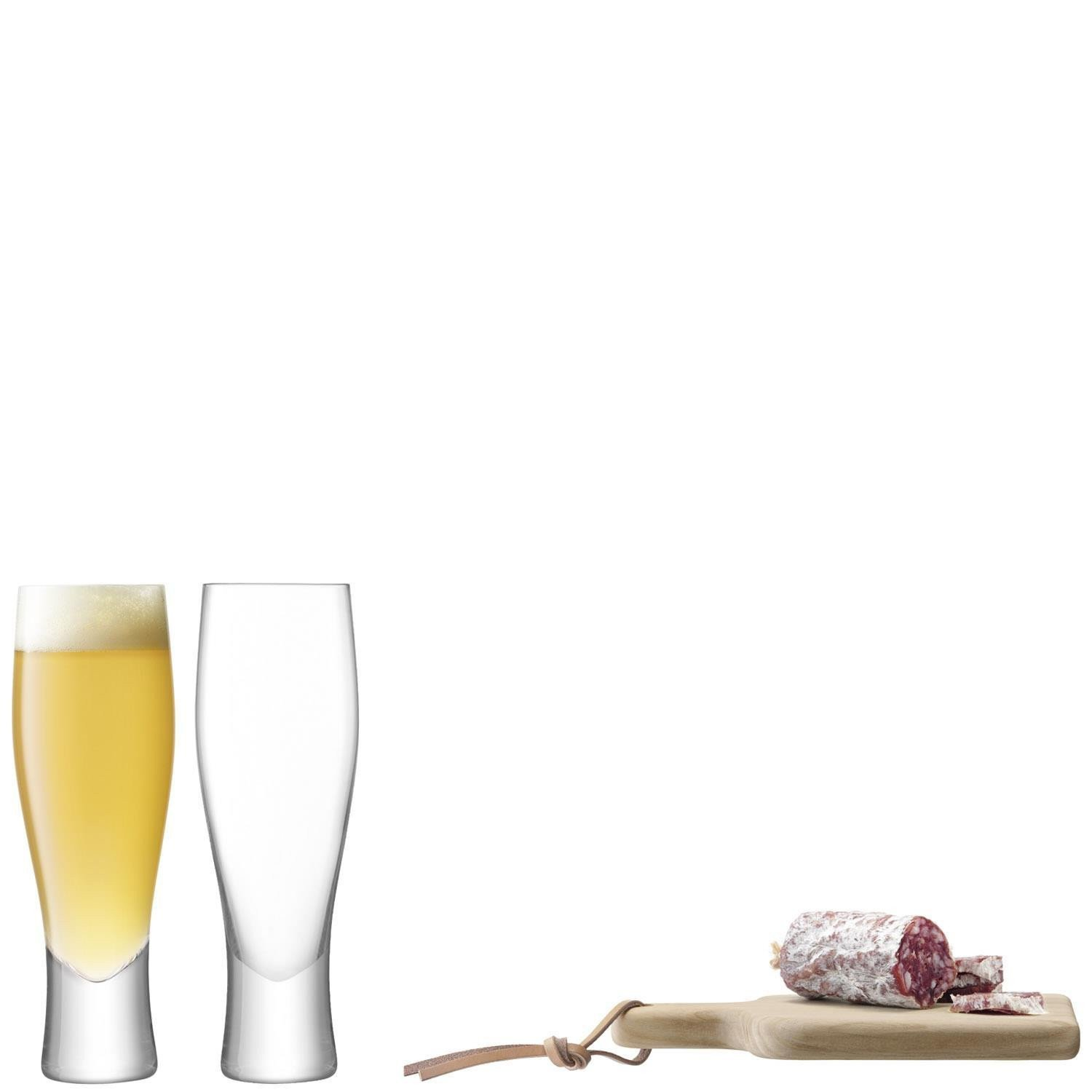 LSA Gift Collection Clear Beer Glasses Set & Wooden Board