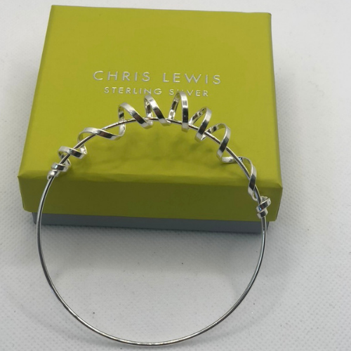 Spiral Bangle, Sterling Silver By Chris Lewis