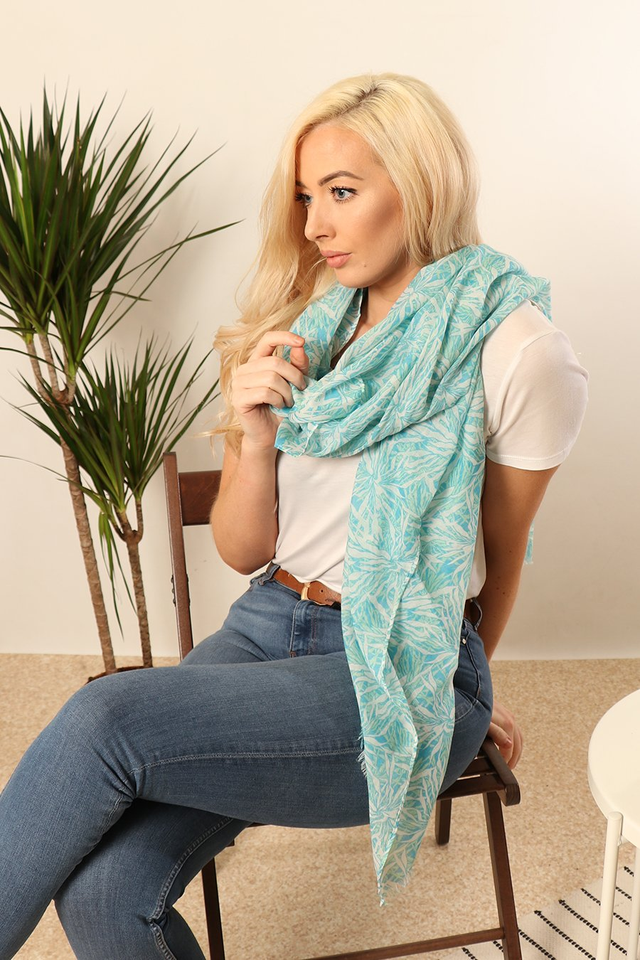MSH Turquoise / Blue Tropical Leaf Print Scarf