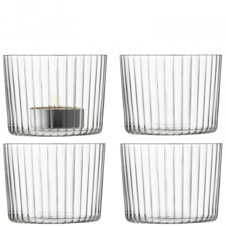 LSA Geo Line Tealight Holders, set of 4