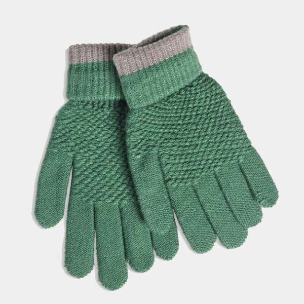 Quintessential Moss Stitch Gloves, Green