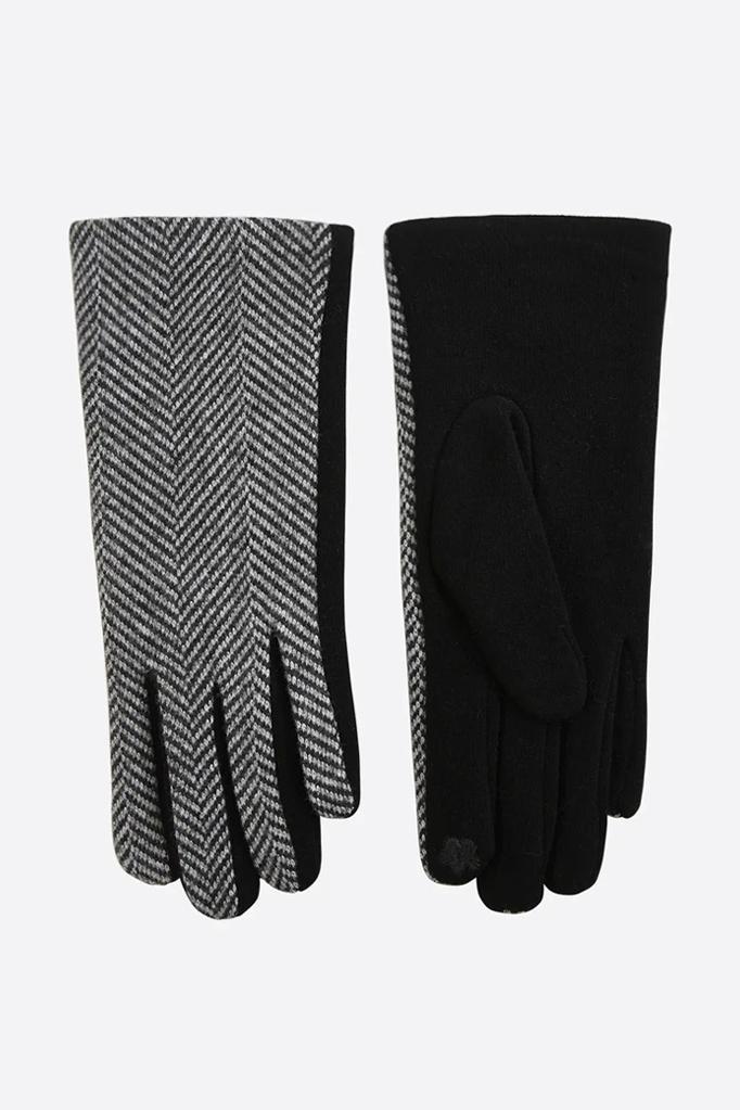 MSH Black Two-Tone Herringbone Gloves