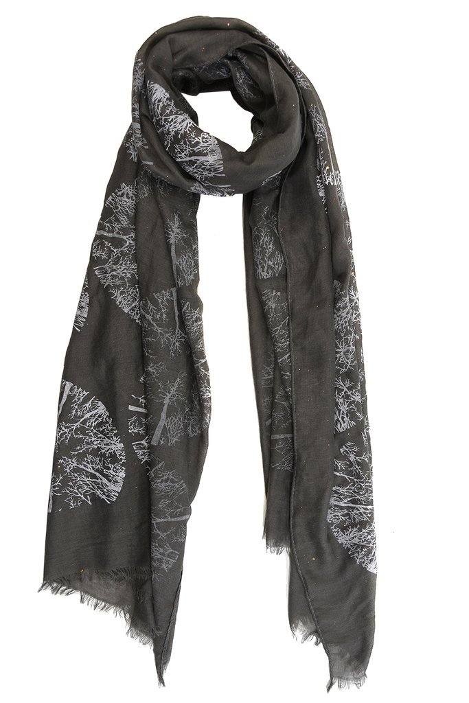 MSH Dark Grey / Gold Winter Tree Scarf