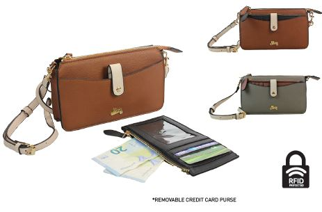 Vintage Crossbody Removable Credit Card Phone Purse  - Tan