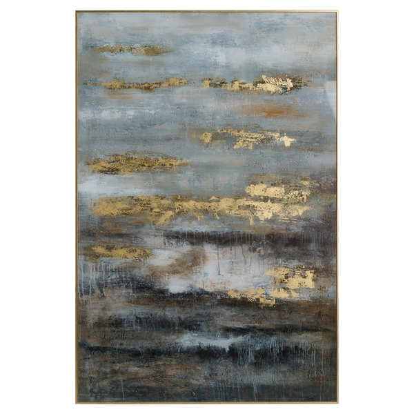 Hill Interiors Large Abstract Grey and Gold Framed Glass Atrwork