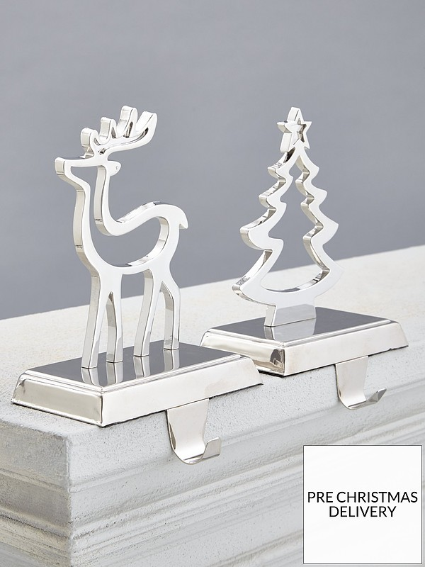 Nickel Plated Tree / Deer Stocking Hanger