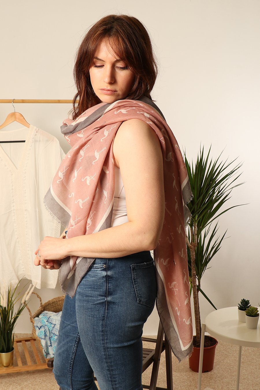 MSH Dusty Pink Grey Border Colour Pop Flamingos Scarf