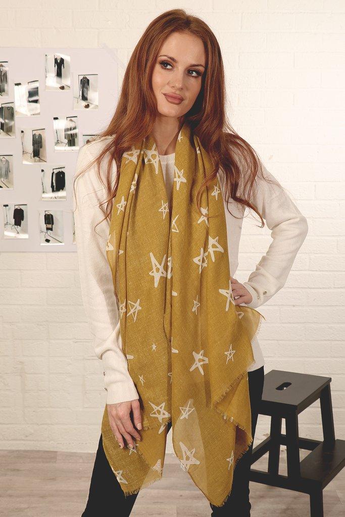 MSH Dark Mustard Scarf, Rose Gold Glitter Star Print.