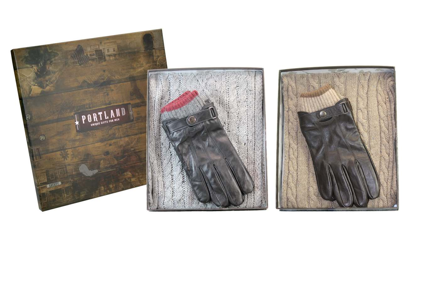 Portland Men's Cable Knit Scarf and Leather Glove Set