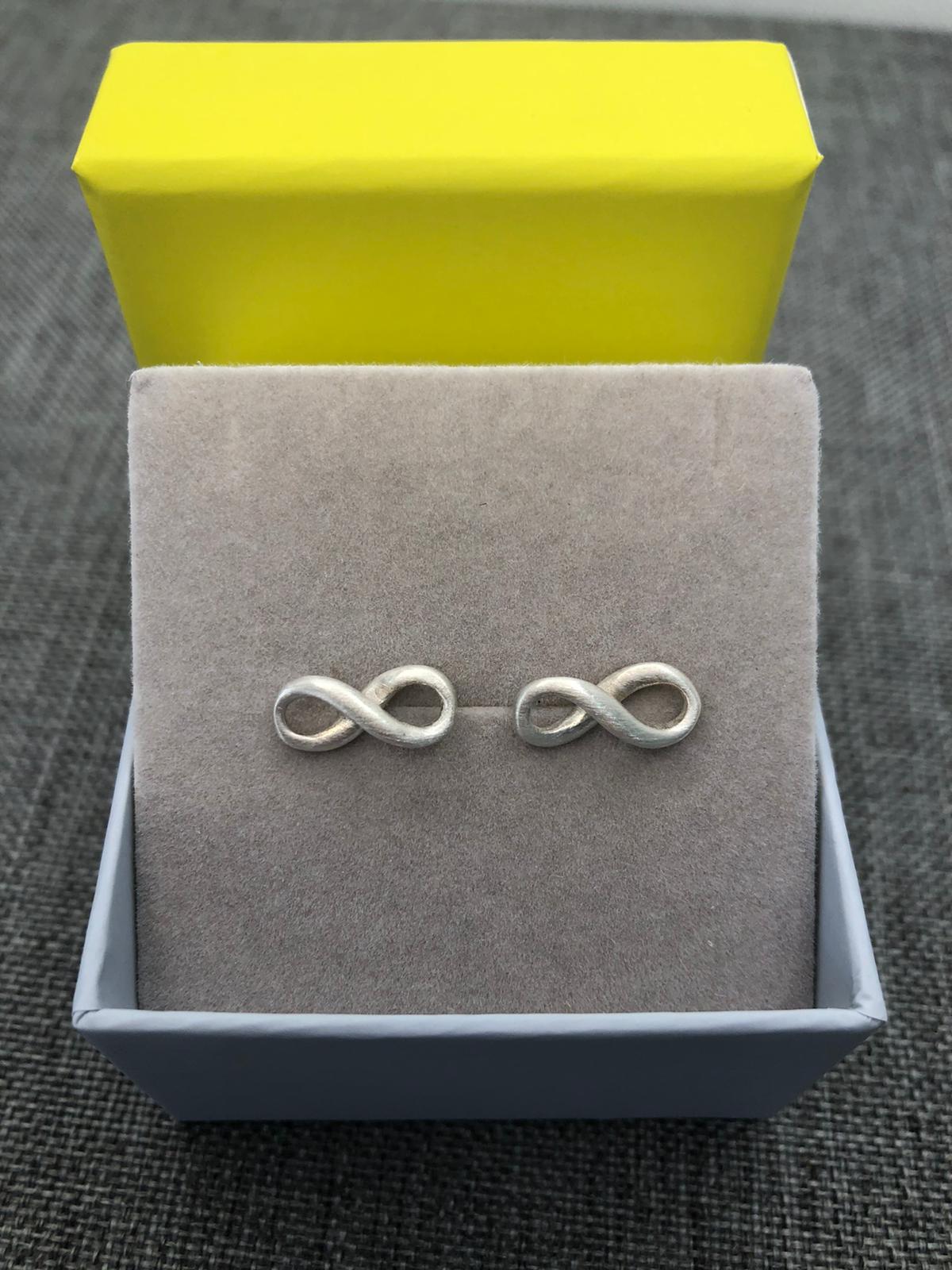 Infinity Stud Earrings, Sterling Silver (Matt Finish) by Chris Lewis
