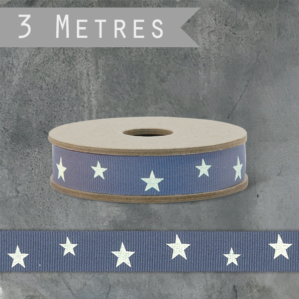 East Of India Geometric Ribbon - Stars/Blue, 3m