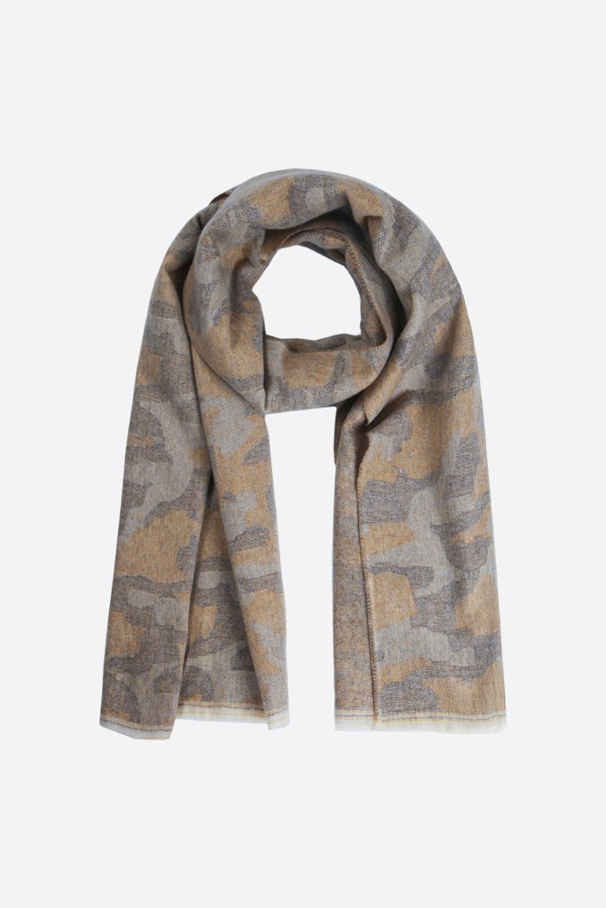 MSH Grey And Mustard Camouflage Print Blanket Scarf