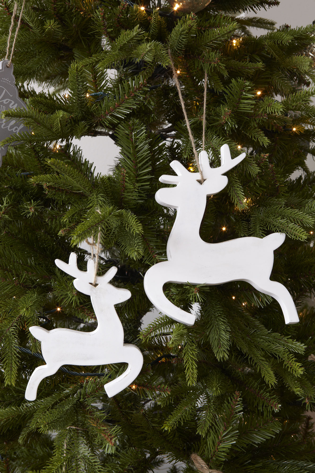 Reindeer Prancing Distressed Wood, White