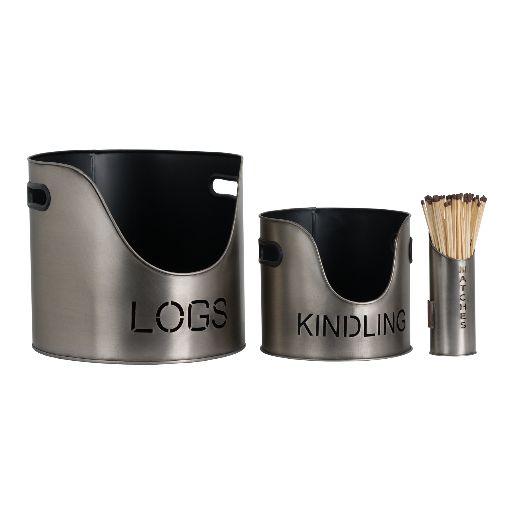 Pewter Finish Logs And Kindling Buckets & Matchstick Holder