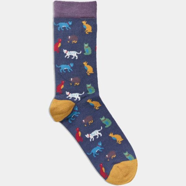 Quintessential Womans Socks, Cats Navy