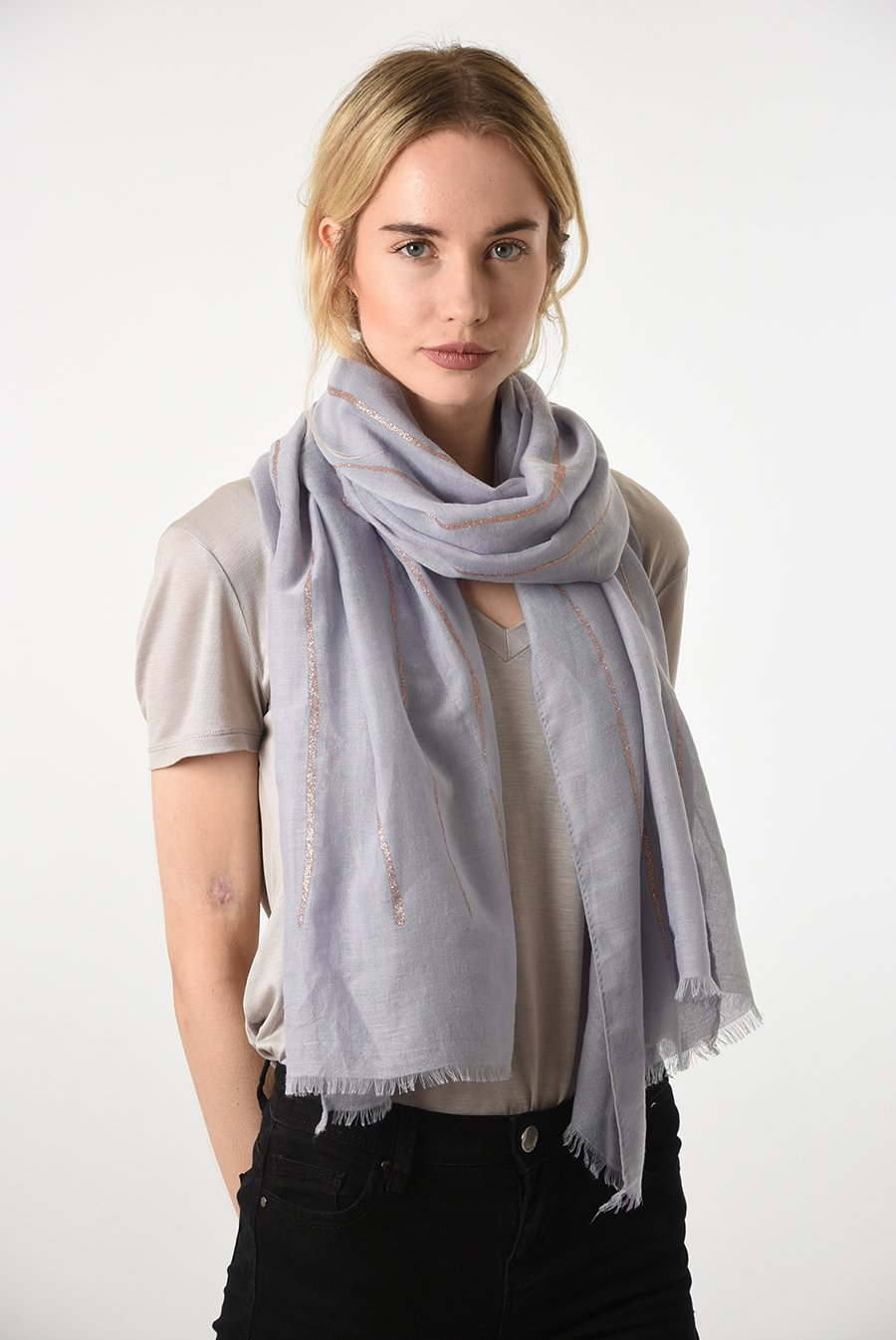 MSH Light Grey / Rose Gold Scarf