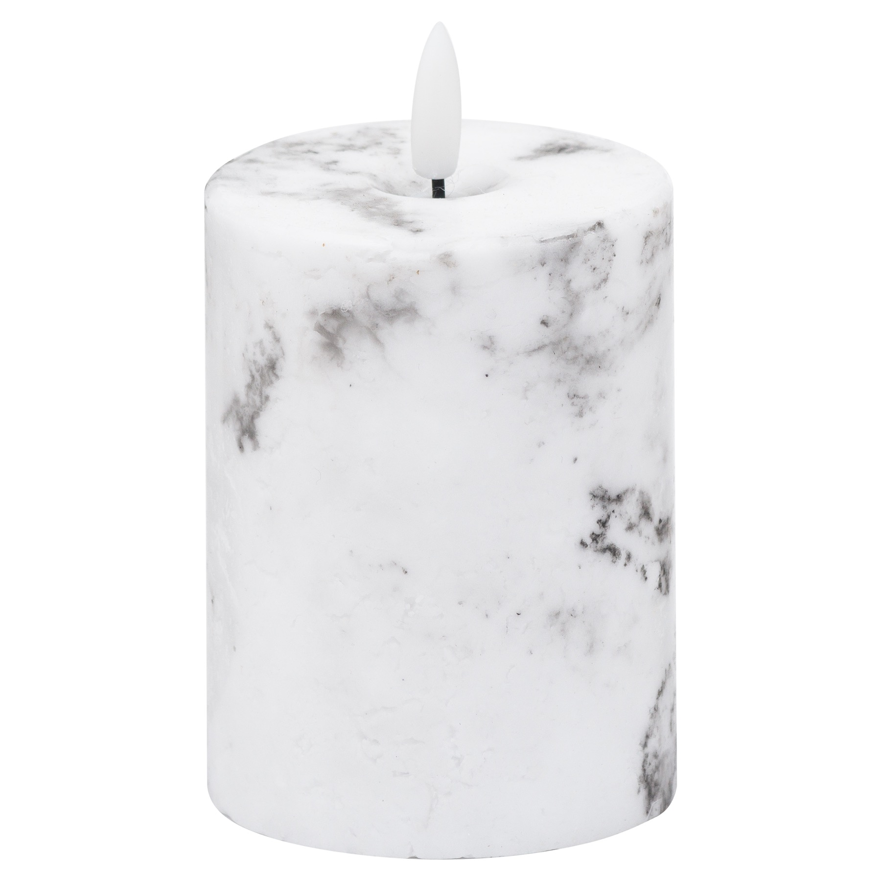 Luxe Collection, Natural Glow Marble Effect LED Candle, 3x4