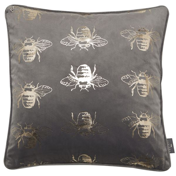 Malini Juniper Jasper Bee Foil Pattern Cushion