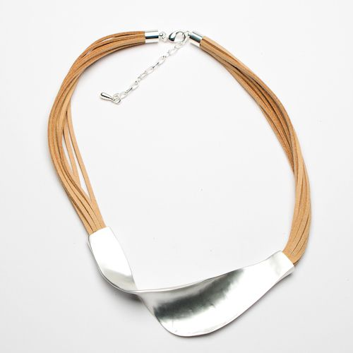 Eliza Gracious Short Suede Necklace with Twisted Bar, Beige