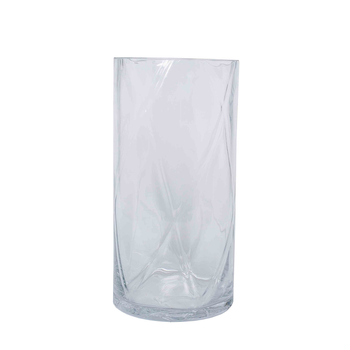 Clear Glass Round Optic Vase, Small