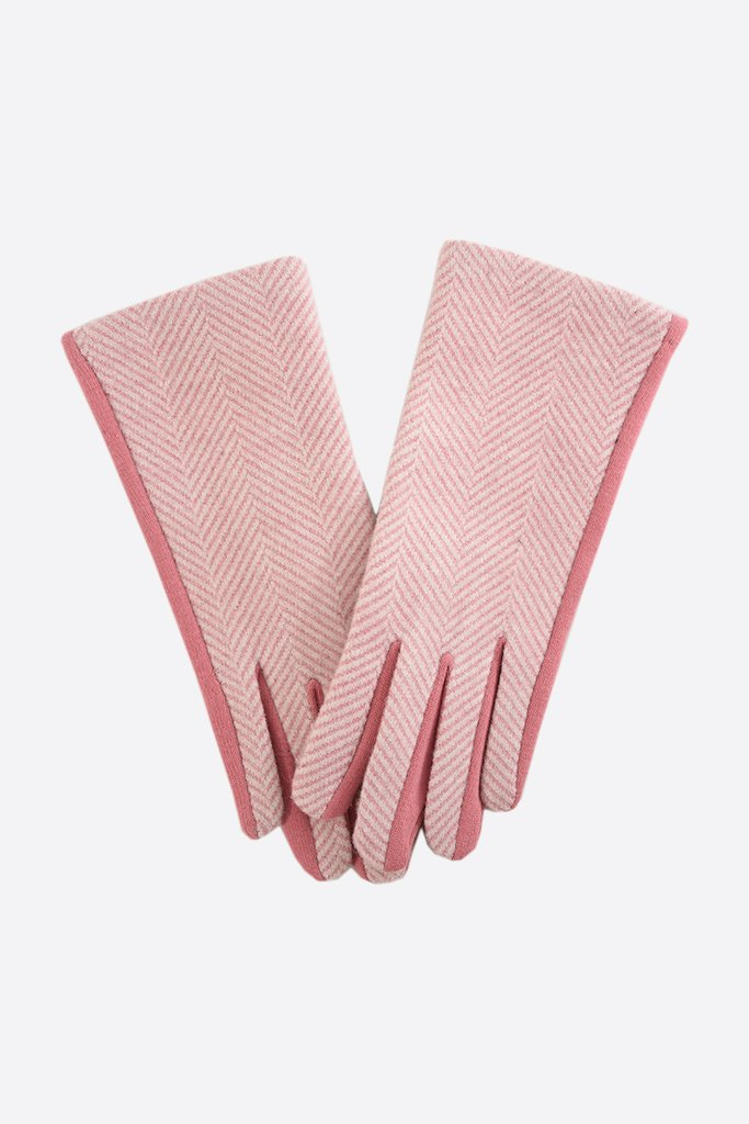 MSH Pink Two-Tone Herringbone Gloves