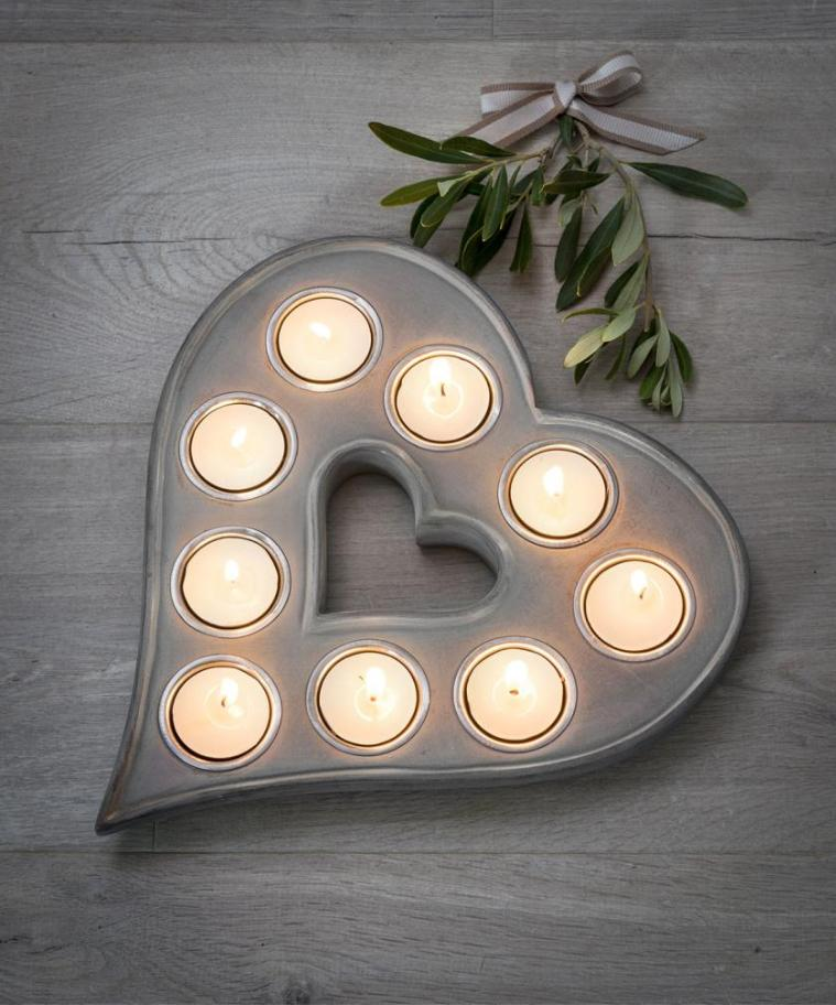9 Tea Light Heart, Grey