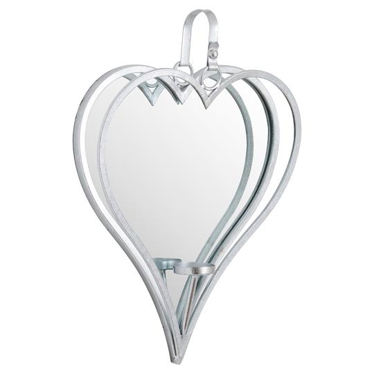 Hill Interiors Silver Mirrored Heart Candle Holders