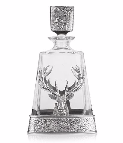 AE Willams Pewter Stag Pyramid Decanter