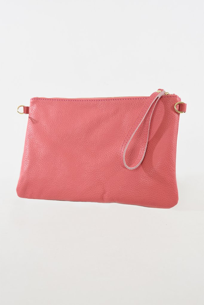 MSH Coral Leather Clutch