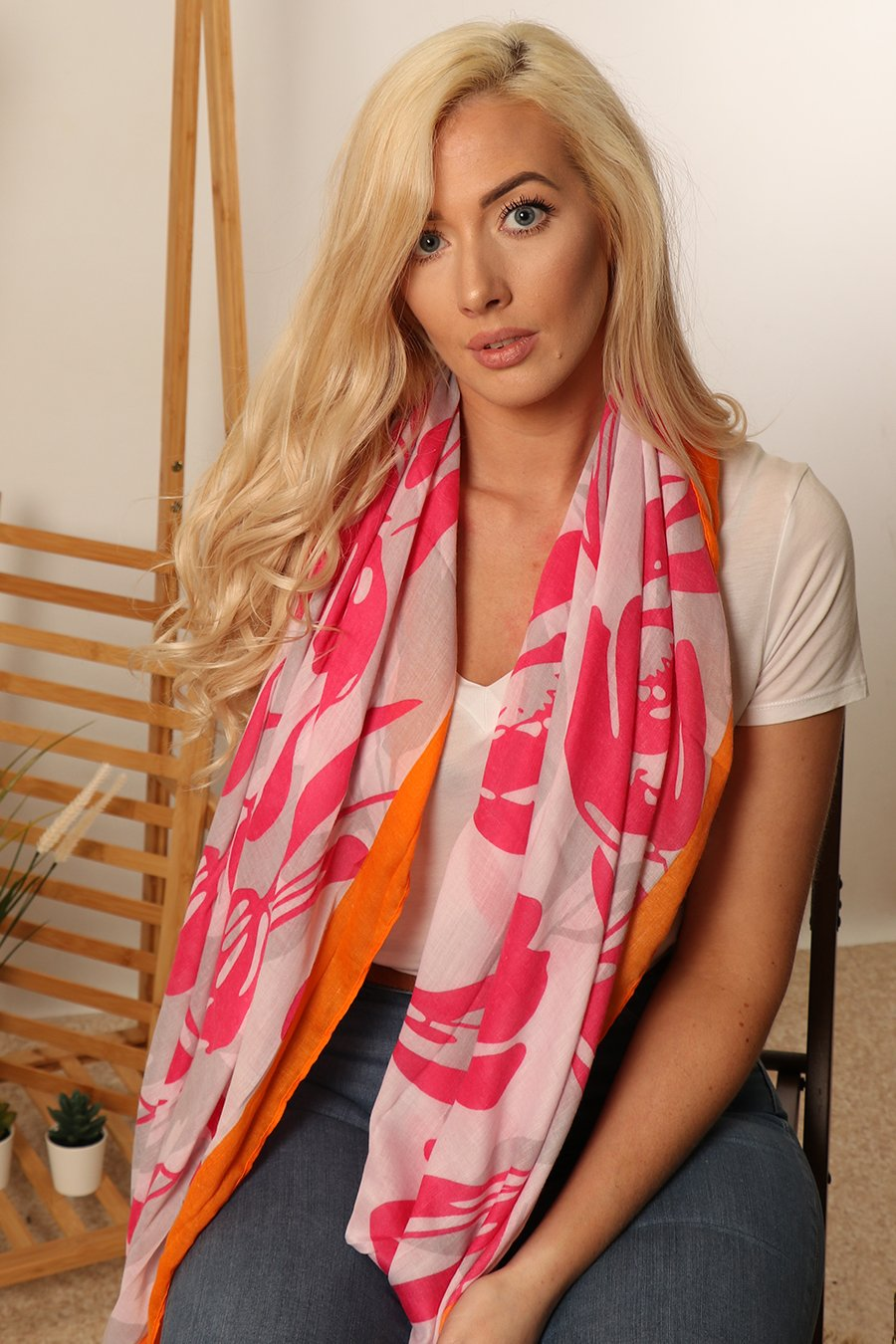 MSH Fuchsia and Orange Abstract Leaf Print Scarf