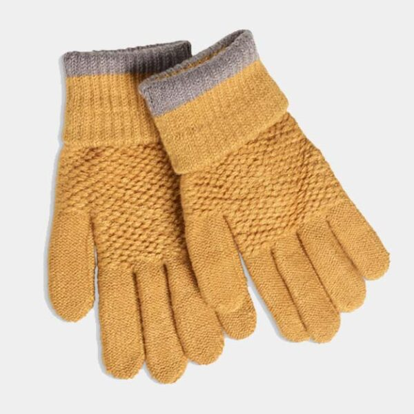 Quintessential Moss Stitch Gloves, Mustard