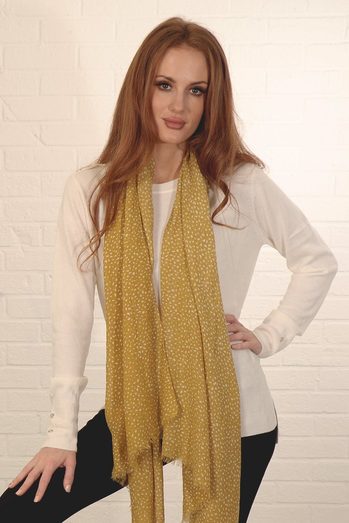 MSH Mustard and White Animal Print Scarf