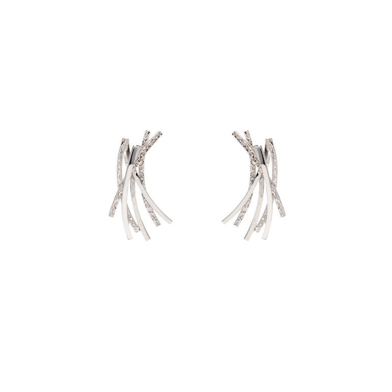Curved Line Earrings, Sterling Silver By Chris Lewis