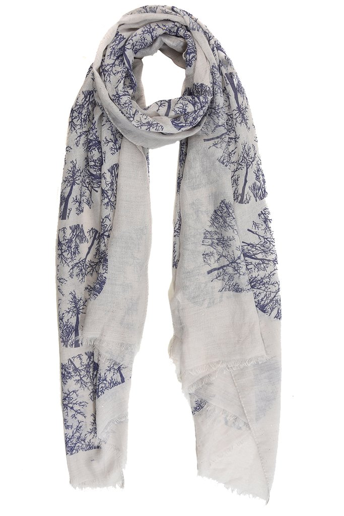 MSH Light Grey Winter Tree Scarf