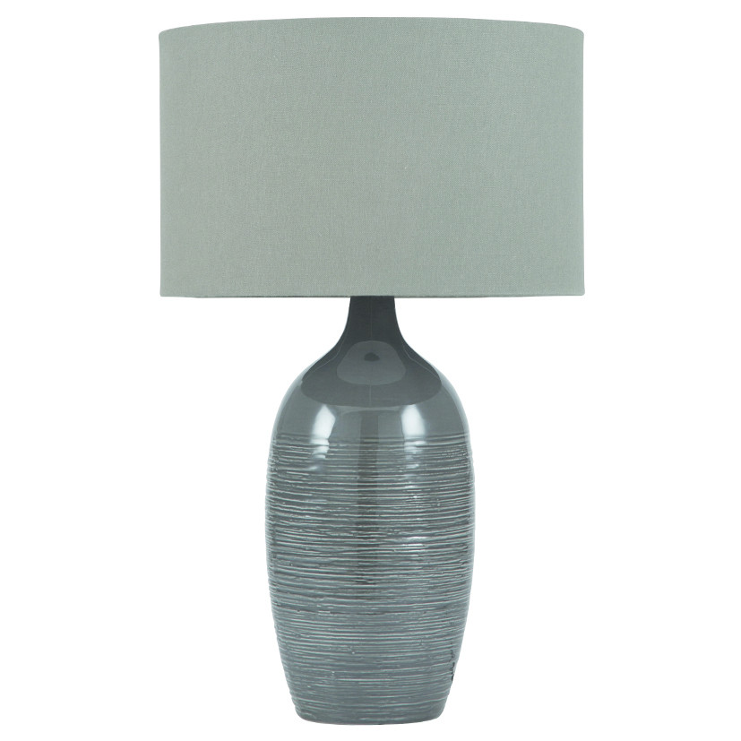 Abbie Etched Graphite Ceramic Table Lamp