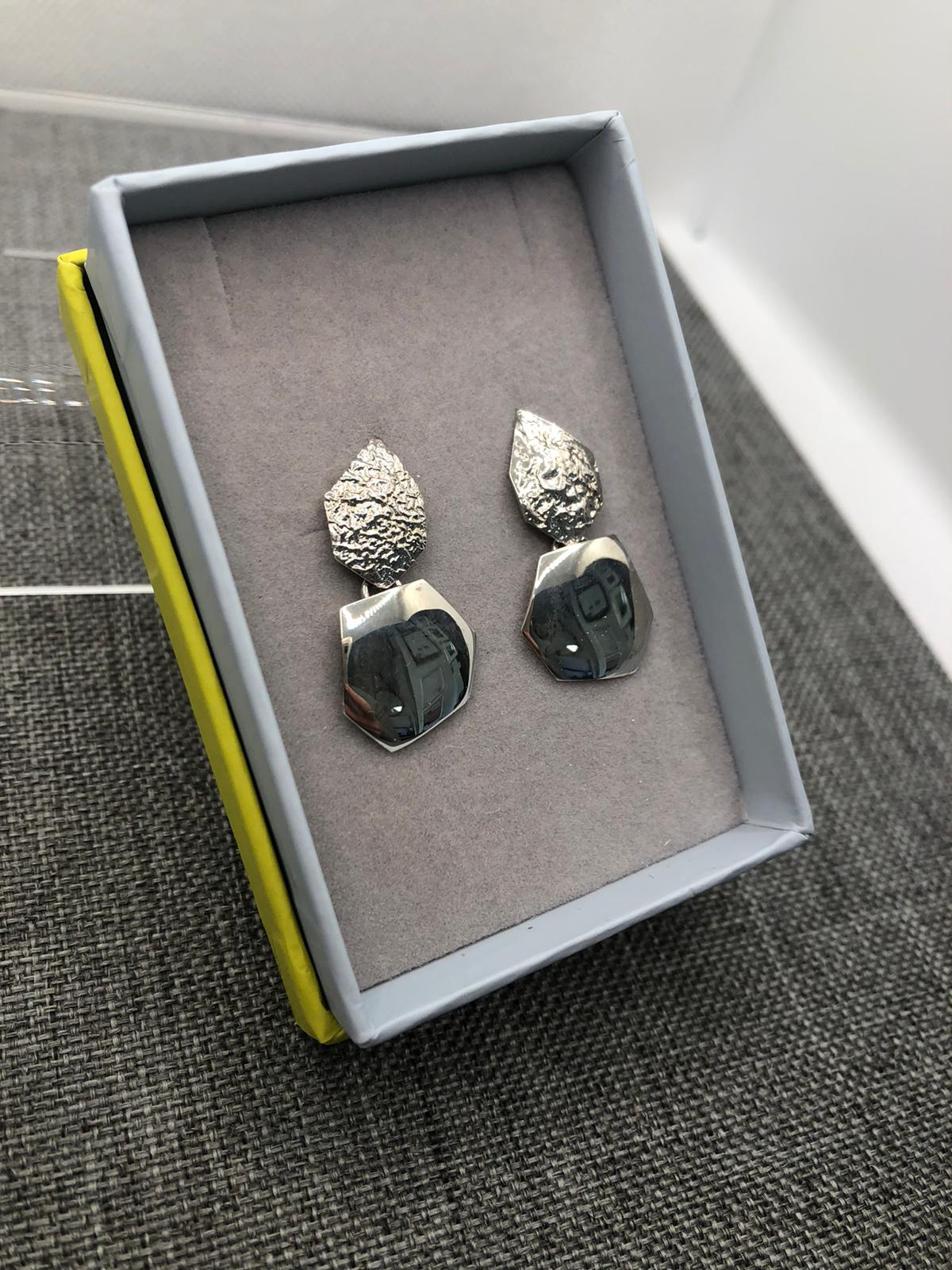 Pavement Earrings, Sterling Silver by Chris Lewis
