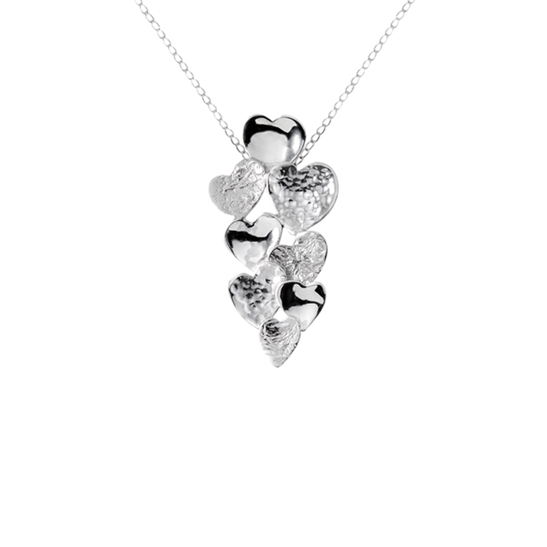 Curved Heart Pendant, Sterling Silver By Chris Lewis