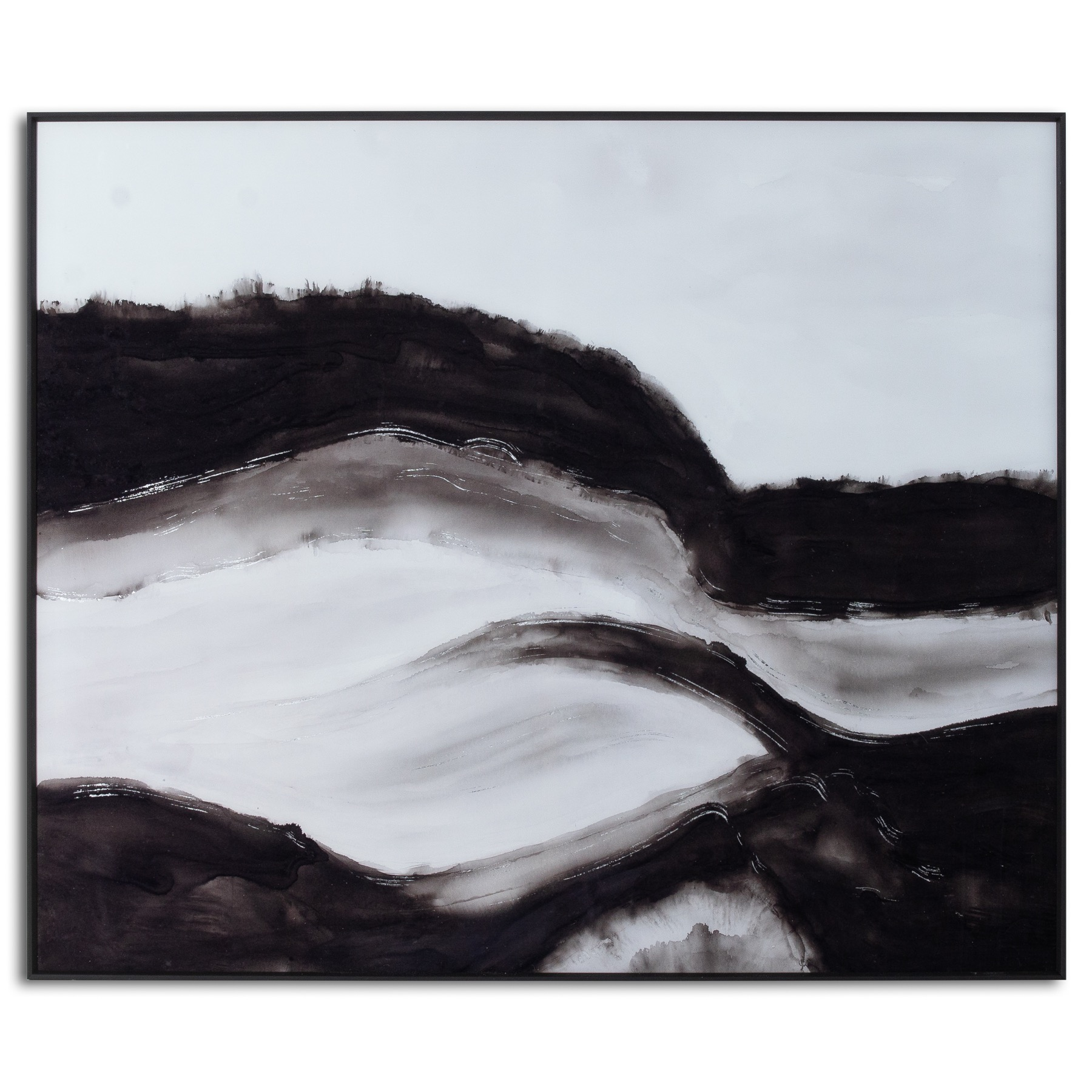 Black and White Rolling Hills Glass Image