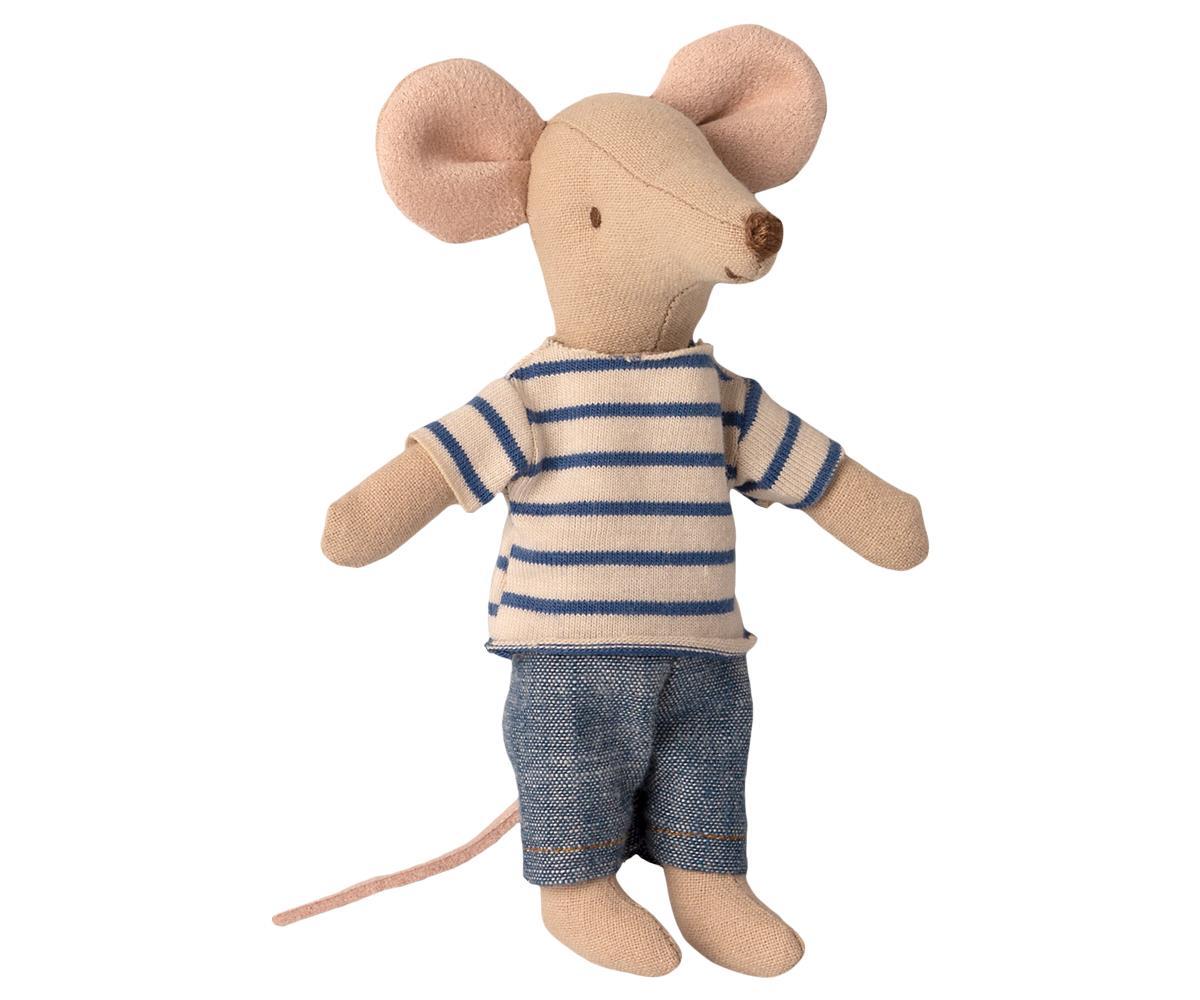 Maileg Isoveli hiiri tulitikkurasiassa raitapaidassaan