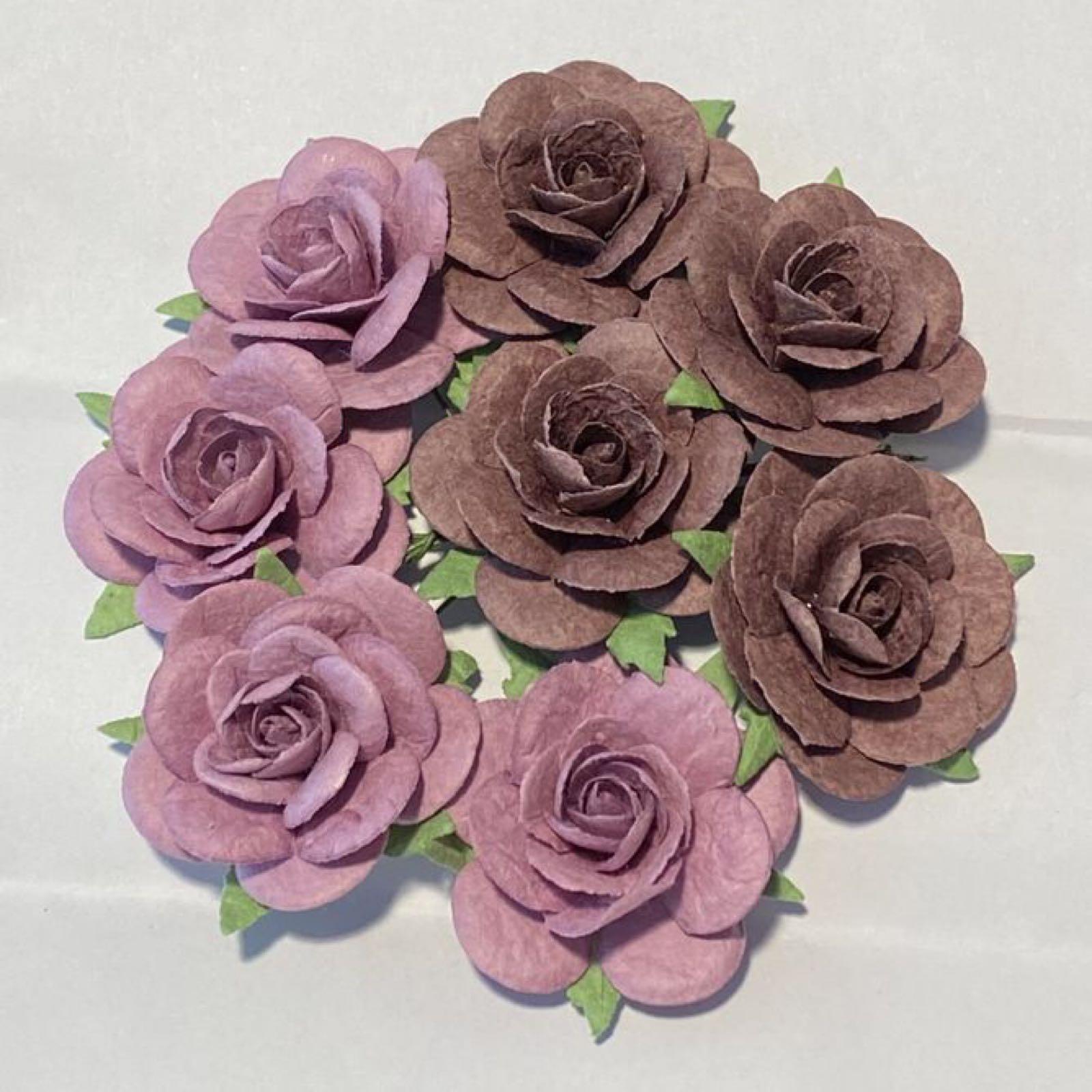 Papirdesign blomster, roser,  lilla/mørkelilla (vintage), 3,5cm. 8 stk pr pk.