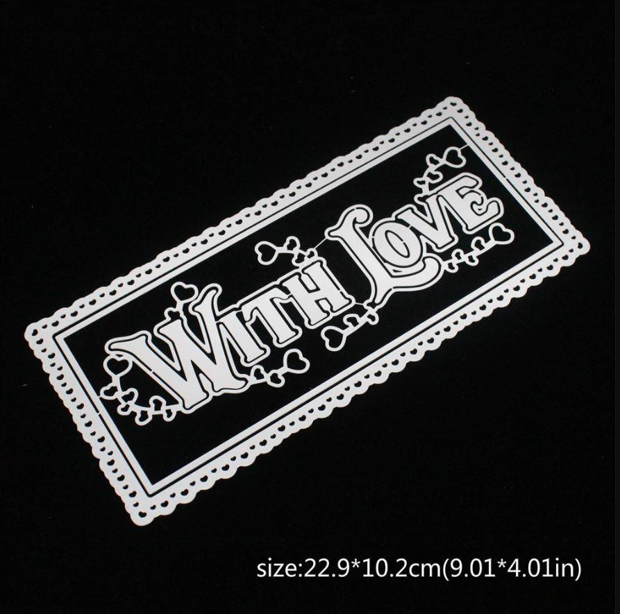 Nicole - Slimline With Love Heart Border Metal Cutting Dies