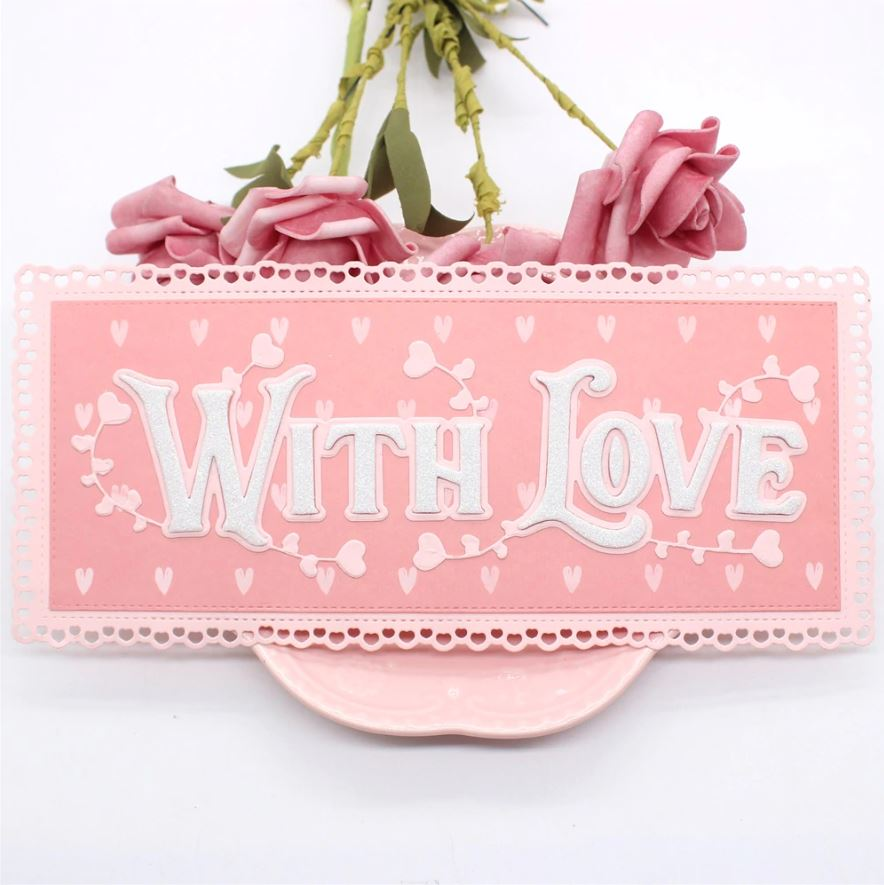Nicole - Slimline With Love Heart Border Metal Cutting Dies